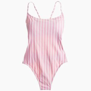 Pink Lace-Up Back One-Piece Swimsuit